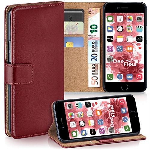 moex Apple iPhone 7/8 | Hülle Dunkel-Rot mit Karten-Fach 360° Book Klapp-Hülle Handytasche Kunst-Leder Handyhülle für iPhone 7/8 Case Flip Cover Schutzhülle Tasche