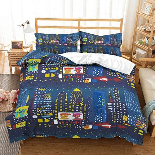 MOUMOUHOME Kids Cartoon Hourse Bettwäsche Set Doppel 100% Mikrofaser Moderne Gebäude Lichter Auf Gold Blauer Himmel 3 Stück Bettbezug Set für Jungen, Mädchen und Erwachsene, kein Tröster
