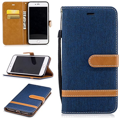 Price comparison product image iphone 7 PLUS Case Leather [Wallet Case], COZY HUT Elegant Cowboy Patterned Embossing PU Leather Stand Function Protective Cases Covers with Card Slot Holder Wallet Book Design Fordable Strap Case for iphone 7 PLUS - Dark blue cowboy