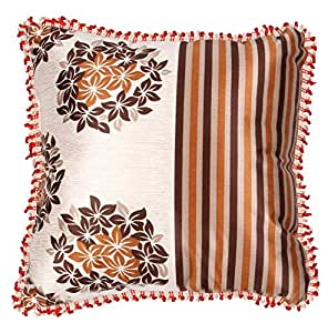 Raiden Polyester Cushion with Cushion Cover - 18 inches x 18 inches, Brown