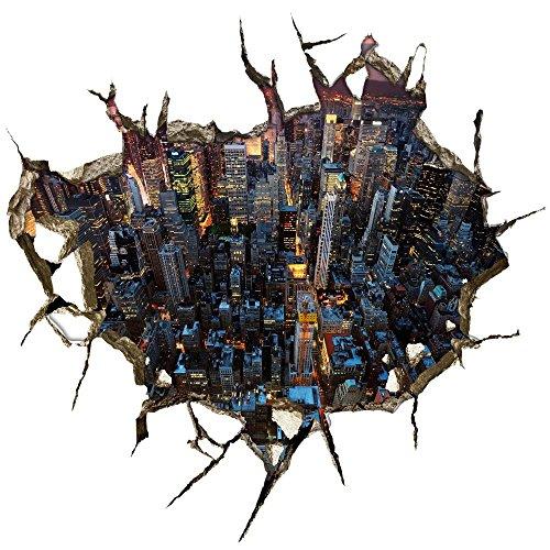 LXPAGTZ Kreative 3D Aufkleber Wand Aufkleber Boden Stadt Ansicht Hotel Schlafzimmer Wohnzimmer Wandbild Hintergrund Perspektive Tapeten Sticker grün Wandfarbe #016 , A (Die Ansicht Halloween)