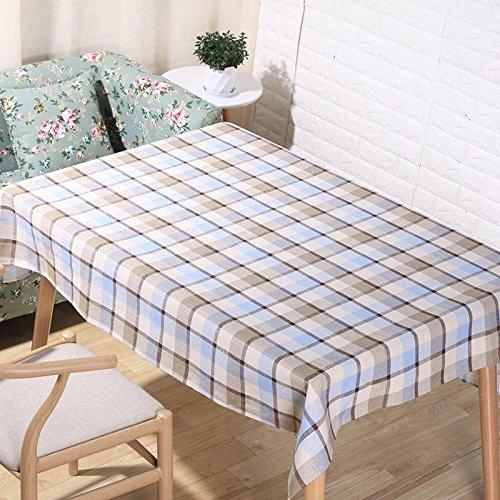 American pastorale Natural lin nappes 3D impression numérique bleu et blanc treillis de table en tissu maison décoration rectangulaire serviette de couverture , 140*220cm