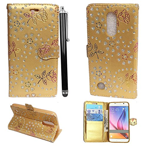 Mobile Stuff LG K4 2017 Hülle Kunstleder Tasche PU Schutzhülle Tasche Leder Brieftasche Hülle Case Cover + Stylus (Glitter Gold Book)