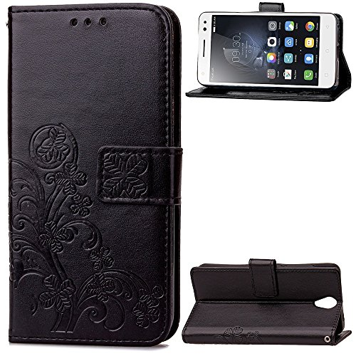EKINHUI Case Cover Double Magnetic Back Sucktion Retro Style PU Leder Flip Stand Case mit Kickstand und Wallet Pouch Funktion für Lenovo S1 Lite ( Color : Black ) Black