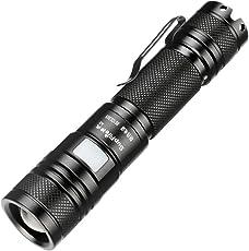 Supfire Taschenlampe Taktische CREE LED Wasserfester Zoombar Fackel Super Hell 950 Lumen Handlampe mit 18650 Batterie Enthalten,Aufgeladen mit USB Kabel Direkt,5 Modi für Camping Wandern,Modell A2