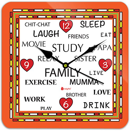 Gift For Mom Mothers Day Mother Indibni Family Time Unique Square Wall Clock 11 X Orange House Warming Father Grand