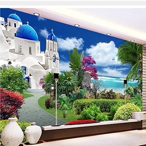 Meaosy Benutzerdefinierte Garten Tapeten, Ägäis Garten Wandgemälde Für Die Wohnzimmer Schlafzimmer Tv Hintergrund Wand Wasserdicht-400X280Cm