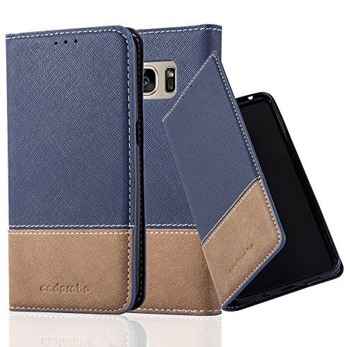 Preisvergleich Produktbild Cadorabo Hülle für Samsung Galaxy S7 - Hülle in DUNKEL BLAU BRAUN – Handyhülle mit Standfunktion und Kartenfach aus Einer Kunstlederkombi - Case Cover Schutzhülle Etui Tasche Book