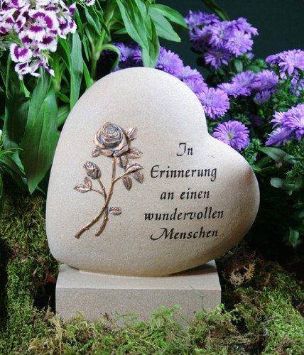 """Grabherz mit Rose """"In Erinnerung an..."""", Resin"""