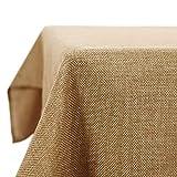 Deconovo Nappe Tissu Imperméable pour Effet Lin Table Rectangulaire 130x130 cm Brun
