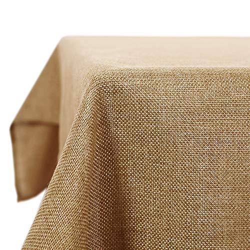 Deconovo tovaglia da tavola impermeabile antimacchia rettangolare in tessuto lino per sala da pranzo 150x150cm giallo terroso