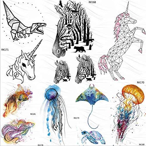 Temporäre Tattoo-Aufkleber DIY Zebra Wald Geometrische Einhorn Temporäre Tattoos Aufkleber Männer Wasserdicht Fake Tattoo Body Art Arm Tatoos Für Kinder Frauen