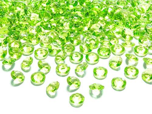 Dekosteine Diamanten grün hellgrün 100 Stück 12mm Durchmesser Deko-Edelsteine Tischdeko Hochzeit Palandi®