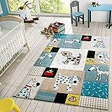 T&T Design Kinder Teppich Moderner Spielteppich Hunde Karos Pastell Töne