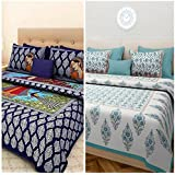 Jaipur Prints Cotton Combo Bed Sheet Combo Set Of 2 Double Bedsheet With 4 Pillow Covers-Multi