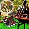 FIXKIT Set Completo Barbecue x18 Pezzi Set Attrezzi BBQ in Acciaio Inox Posate con Manico di Legno Pulizia Griglia Kit Grigliatura Grill Set con Valigetta Inclusa