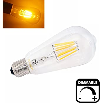Bonlux 8W ST64 ES regulable LED largo filamento de la bombilla blanco cálido 2700K Edison Tornillo E27 LED LED antiguo de jaula de ardilla Luz 75W Bombilla ...