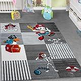 T&T Design Kinder Teppich Piratenwelt Schatzkiste Papagei Spielzimmer Karo Grau Anthrazit, Größe:160x220 cm