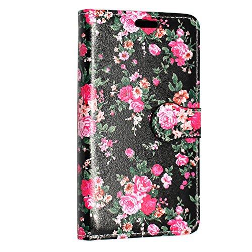 Kamal Star® iPhone SE Tasche Schwarz PU Leder Multi-Functional Wallet Stand Case für Apple iPhone SE (2016 Version der 4.0 Zoll Modell) - SCHUTZHÜLLE mit integrierte BRIEFTASCHE + STAND mit Magnetisch Roses on Black Book
