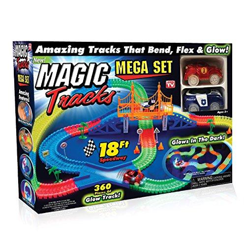 Ontel Magic pistes méga ensemble avec 2 voitures de course et 18 pi. De flexibles, flexible lueur dans la piste de course sombre, comme on le voit à la télévision