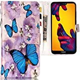 CLM-Tech Huawei P20 Lite Hülle, Tasche aus Kunstleder Schmetterlinge Blumen blau lila, PU Leder-Tasche für Huawei P20 Lite Lederhülle