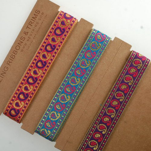 neotrims-indian-paisley-sari-ribbon-metallic-gold-pink-purple-red-2cm-for-crafts-beautiful-2cms-wide