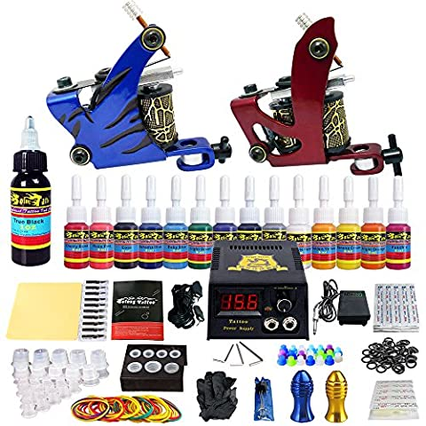 Solong Tattoo® Kit de Tatouage Complète 2 Machine à Tatouer Professionnelle 14 Encres Power Supply Aiguille de Tatouage Tattoo Kit Set TK210