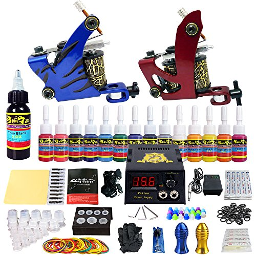Solong Tattoo® Profi Komplett Tattoomaschine Set 2 Tattoo Maschine Guns 14 Farben/Inks Tinte Nadel Tattoo maschine Set Kit TK210