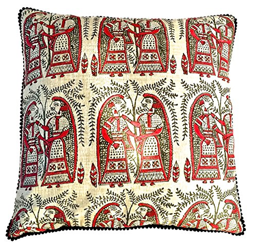 the-indian-promenade-16-x-16-inch-khaadi-cotton-madhubani-cushion-cover-beige