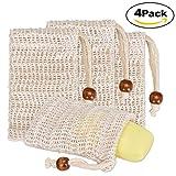 Seifenbeutel TOPBSET 4 Stück Sisal Seifensäckchen Seifennetz Seifenbeute Natur Seifentasche mit Kordel zum aufschäumen und trocknen der Seife, Peeling, Massage