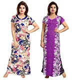 Be You Serena Satin Blue-Purple Women Nightgowns Combo Pack of 2