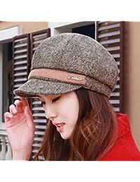 HAPPY-Cap Cappello Berretto Moda Femminile Berretto Ottagonale Primaverile  di Mezza età Cappello Grigio Moda Inglese. 0f2dd93800d5