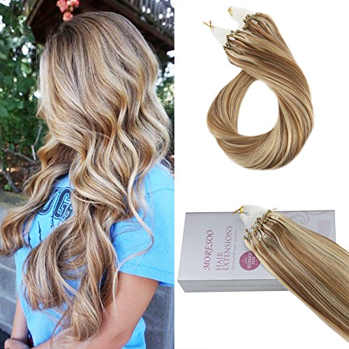 Moresoo 20pollice easy loops micro rings beads brazilian hair extensions capelli veri remy hair brown a bionda micro ring extensions 100% capelli umani