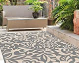 5'3'' x 7'3'' , Gray : Universal Rugs Indoor Outdoor Floral 5 ft. 3 in. x 7 ft. 3 in. Area Rug , Gray
