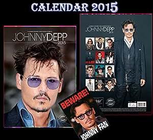 JOHNNY DEPP 2015 CALENDRIER KALENDER CALENDAR + JOHNNY DEPP BEWARE DOOR SIGN