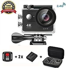 Action Cam 4K Wasserdicht, Daping Action Kamera Sport 1080p Helmkamera WiFi 170° Weitwinkel 2,0 Zoll Unterwasserkamera mit 2.4G Fernbedienung + 2 Akkus 1050mAh + Transporttasche Zubehör Kits, Schwarz
