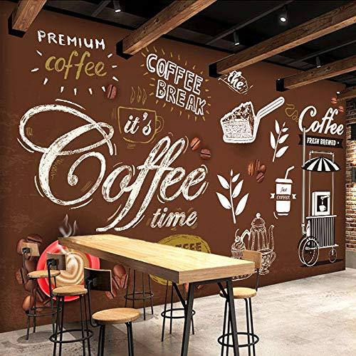 BZDHWWH Kundengebundene Größe Brot Kaffee Zeit Handgemalte Poster Brown Hintergrund Wandbild 3D Tapete Für Cafe Store Restaurant Decor,220cm(W) x 140cm(H)