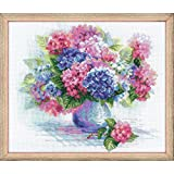 Riolis Kreuzstich-Set Hortensie, Baumwolle, Mehrfarbig 35 x 30 x 0.1 cm