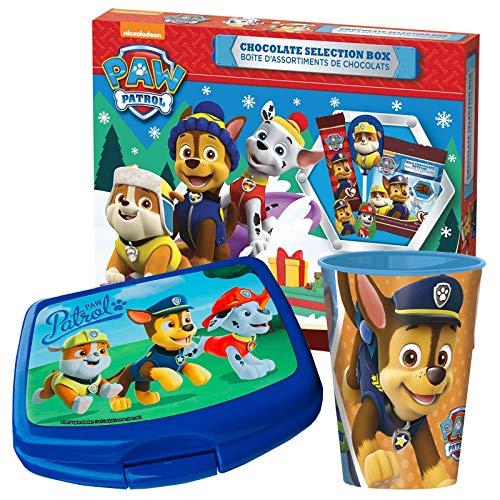 JT Paw Patrol Geschenkset (Brotdose und Tasse gefüllt mit Paw Patrol Schokolade)