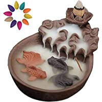 Nanssigy - Porta incenso in ceramica per laghetto con 10 coni di incenso, bruciatore di incenso a cascata, per…