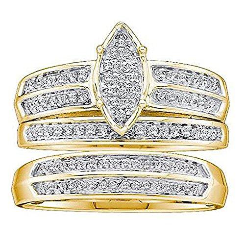 0,28quilates (de quilate) 10K oro amarillo Diamante redondo hombres y mujeres de Micro Pave anillo de compromiso Trio Set 1/4CT
