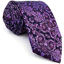 shlax&wing Morado Floral Corbatas Para Hombre Seda Extra Largo 160cm Nuevo Diseño