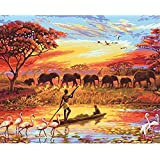 Sunset Elephant Oil Painting By Numbers Kit DIY Canvas Painting Abstract Wall Art Painting