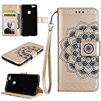 Huawei P10 Lite Wallet Case, EST-EU Retro Mandala Embossing PU Leather Stand Function Protective Covers with Card Slot Holder Wallet Book Case for Huawei P10 Lite, Rose Gold