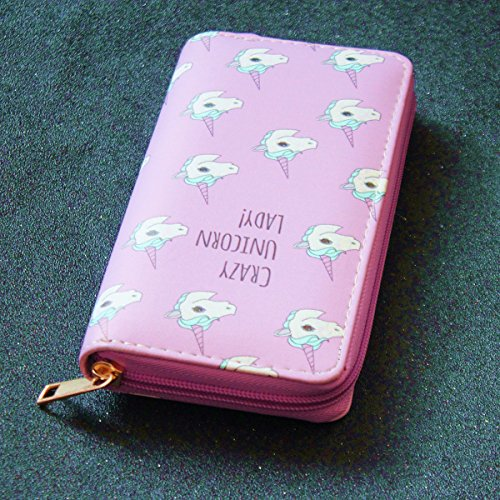 Timlee portafoglio Donna Cute Unicorno Faux Titolare Di Carta Di Cuoio Borsa Del Portafoglio Della Moneta (Porpora) pink