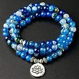XBSZK Pulsera Joyería Hecha a Mano Línea Azul Onyx 108 Mala Collar y Pulsera Meditación Piedra Preciosa Loto Oración Abalorios Pulsera Mujeres Hombres