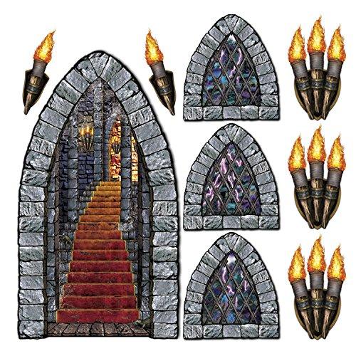 Beistle 00912 Gedruckte Treppe, Fenster und Taschenlampe Requisiten 9-tlg. Pkg of 1 Not Applicable (Halloween-kulissen Und Requisiten)