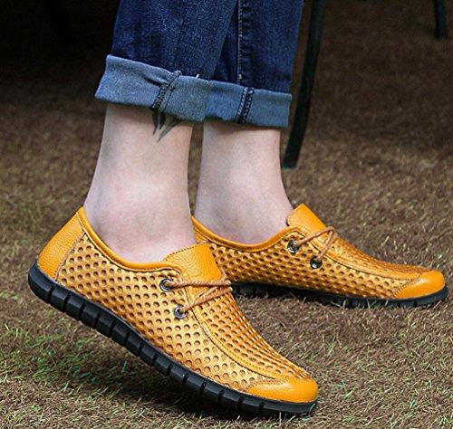 YOUJIA Herren Mesh PU-Leder Mokassins Atmungsaktiv Slip-on Casual Fahrer Flache Schuhe Gelb