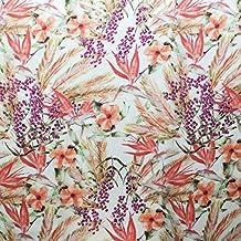 Floral impreso vestido de satén de Micro de tejido tela, rojo y naranja Tropical flores y hojas de color verde–150cm de ancho–se vende por metro