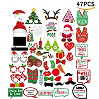 Quemu Co.,Ltd. Christmas Photo Booth Props Kit - Funny Christmas Theme Party Prop Stickers - DIY Art Crafts/New Year Decoration Supplies 32/47Pcs (47Pcs)